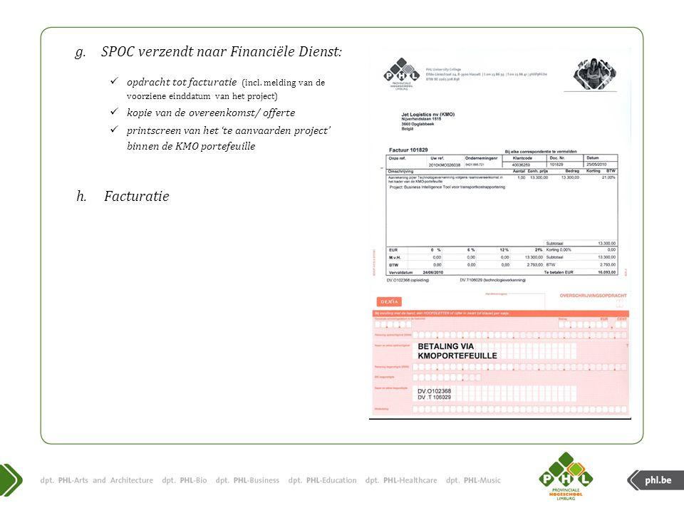 SPOC verzendt naar Financiële Dienst: