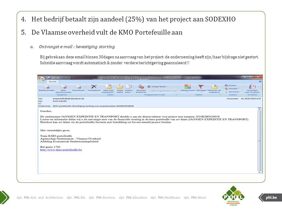 Het bedrijf betaalt zijn aandeel (25%) van het project aan SODEXHO