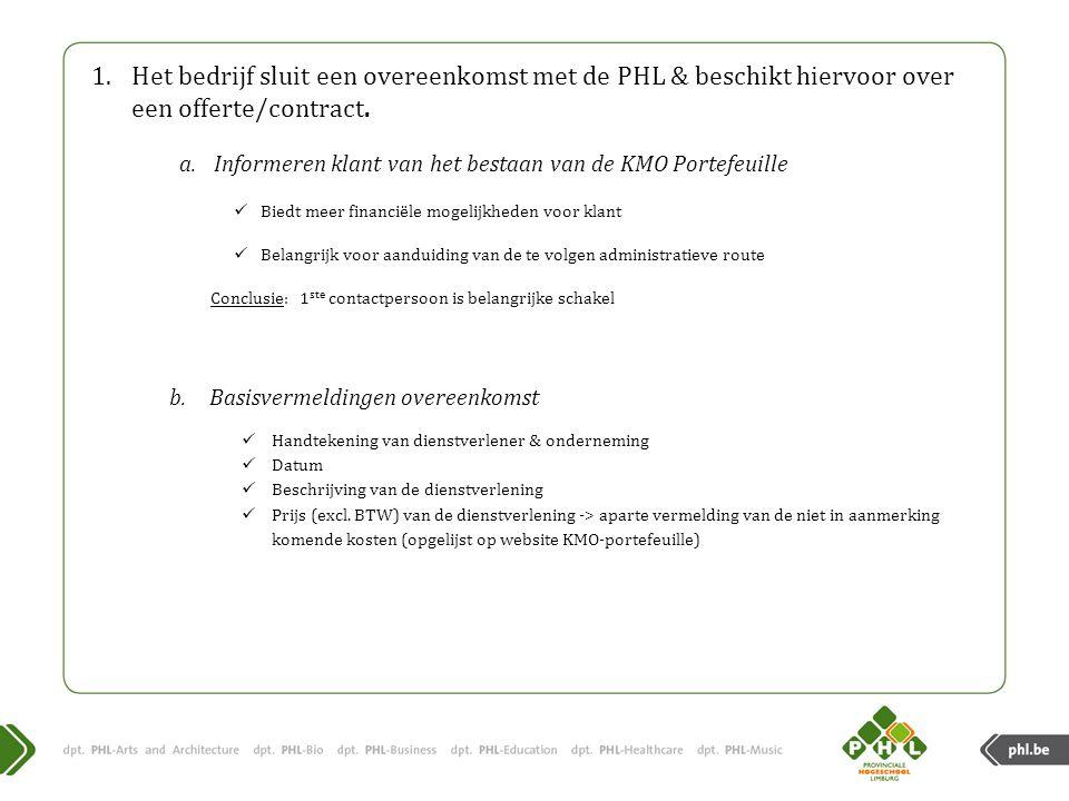 Het bedrijf sluit een overeenkomst met de PHL & beschikt hiervoor over een offerte/contract.