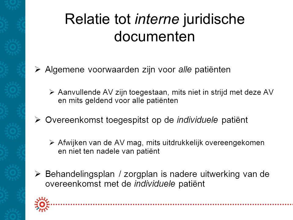 Relatie tot interne juridische documenten