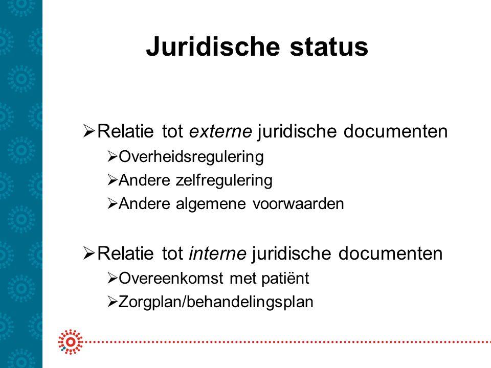 Juridische status Relatie tot externe juridische documenten