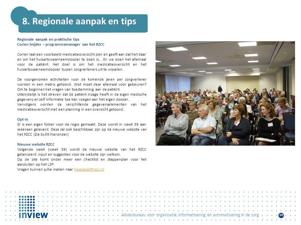 8. Regionale aanpak en tips