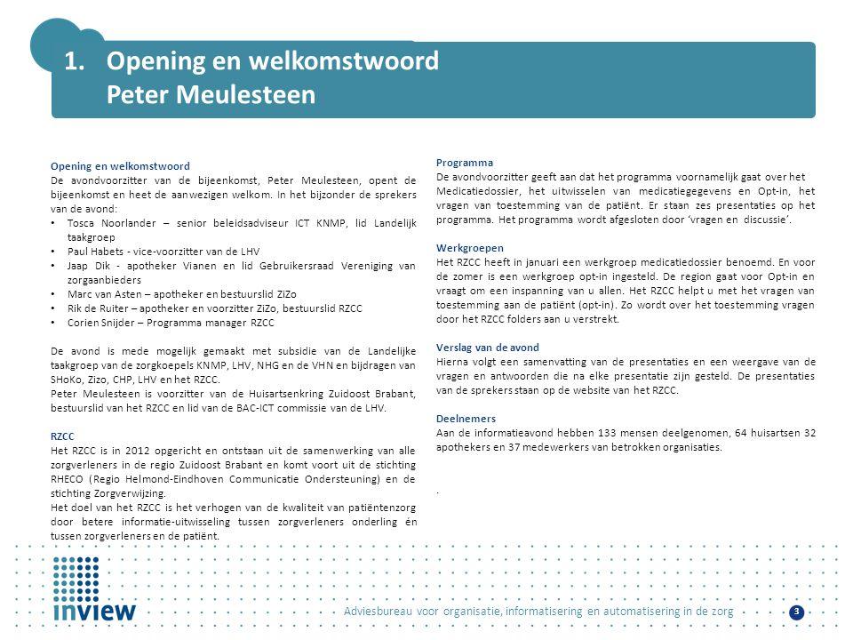 Opening en welkomstwoord Peter Meulesteen