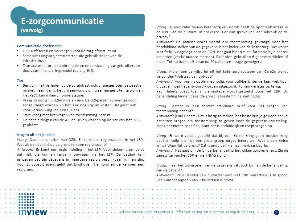 E-zorgcommunicatie (vervolg)