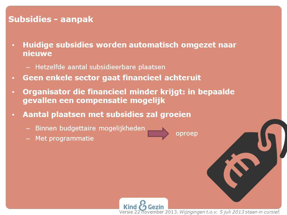 Subsidies - aanpak Huidige subsidies worden automatisch omgezet naar nieuwe. Hetzelfde aantal subsidieerbare plaatsen.