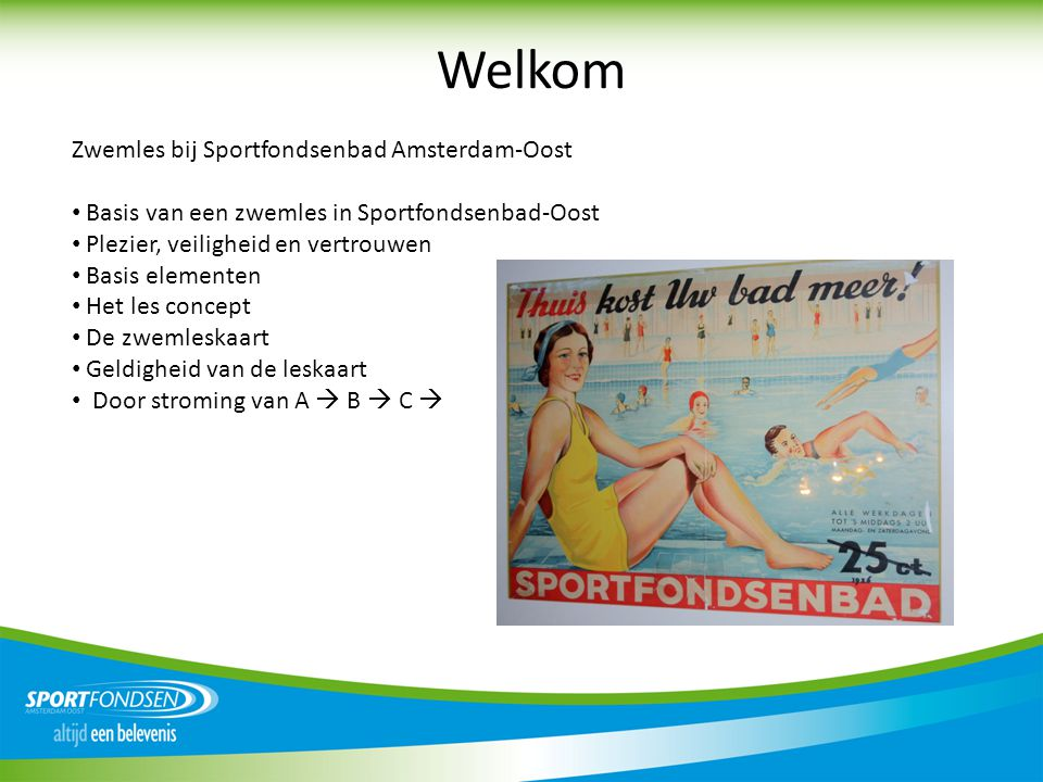 Welkom Zwemles bij Sportfondsenbad Amsterdam-Oost