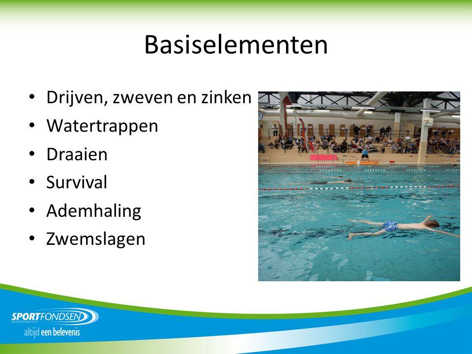 Basiselementen Drijven, zweven en zinken Watertrappen Draaien Survival