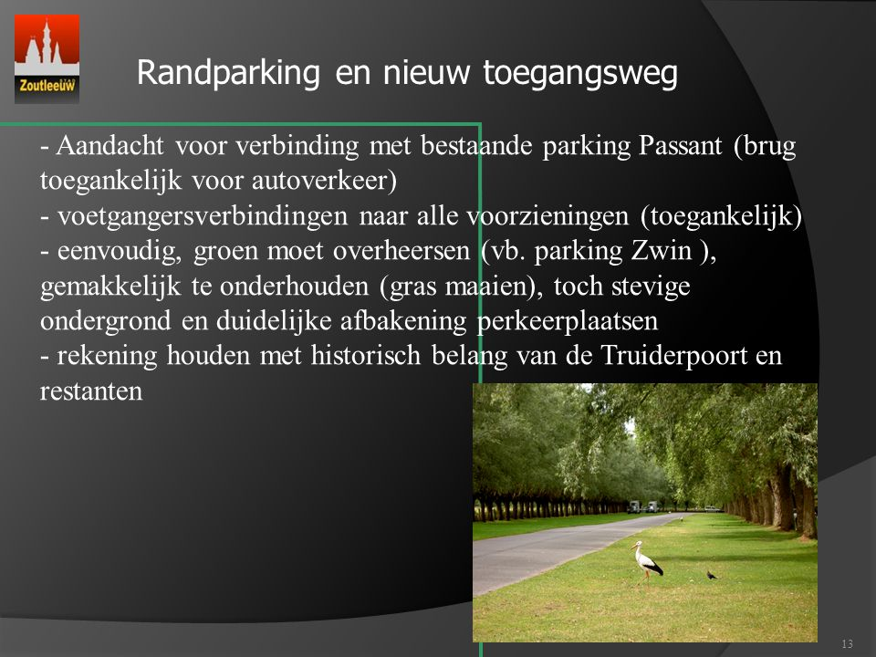 Randparking en nieuw toegangsweg