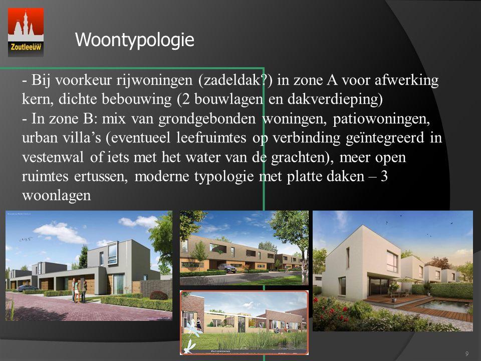 Woontypologie Bij voorkeur rijwoningen (zadeldak ) in zone A voor afwerking kern, dichte bebouwing (2 bouwlagen en dakverdieping)