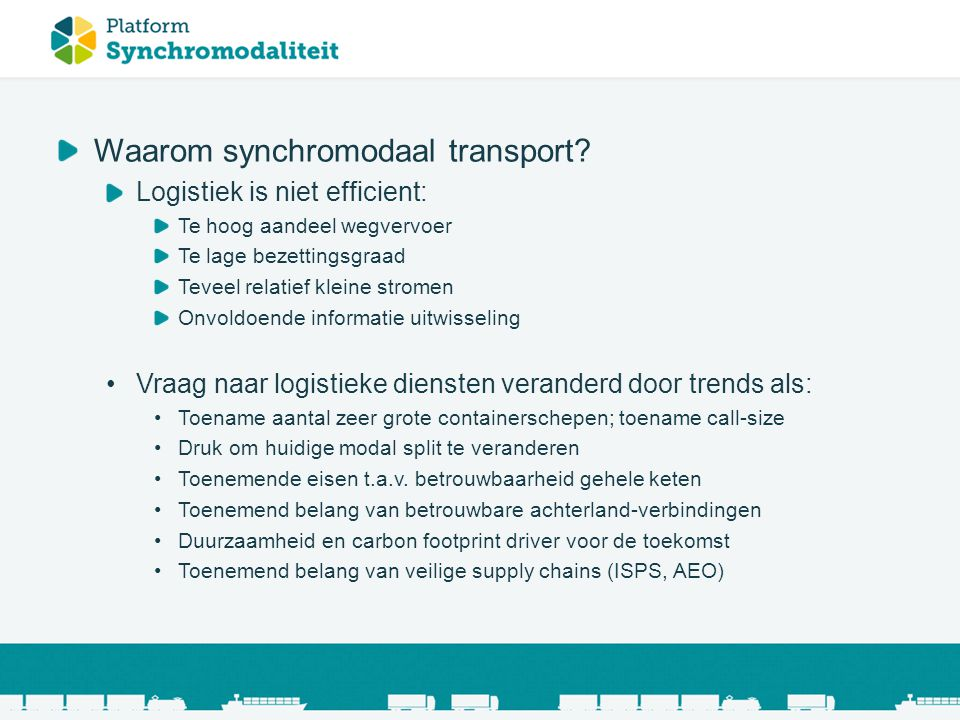 Waarom synchromodaal transport