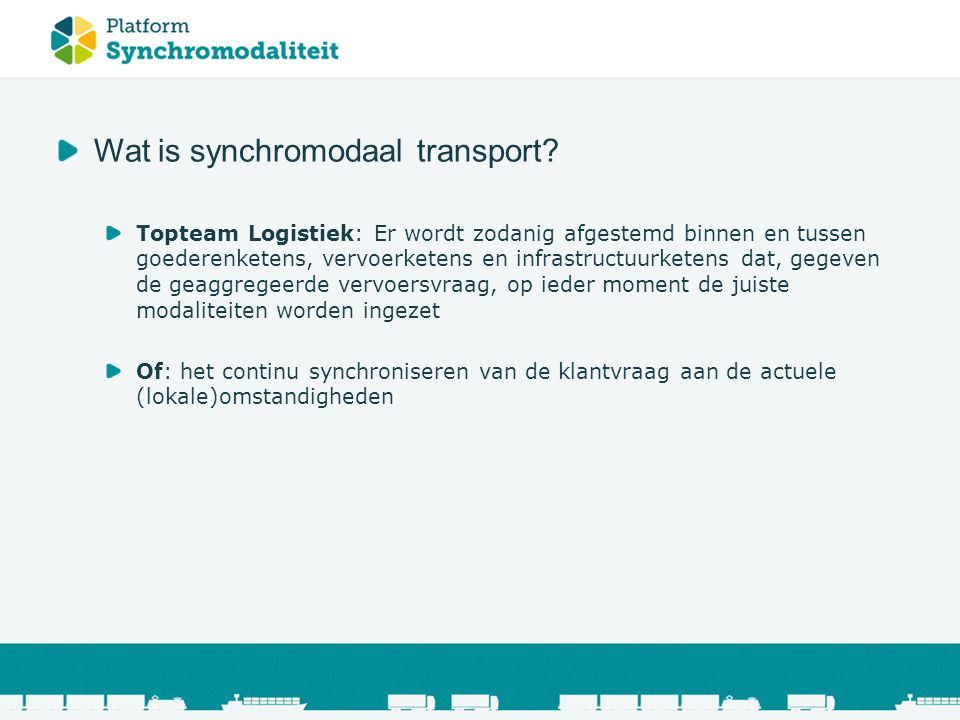 Wat is synchromodaal transport