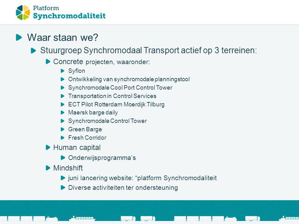 Waar staan we Stuurgroep Synchromodaal Transport actief op 3 terreinen: Concrete projecten, waaronder:
