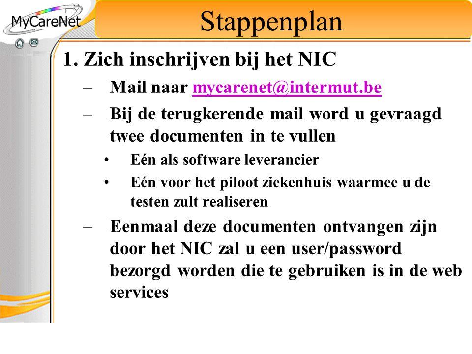 Stappenplan 1. Zich inschrijven bij het NIC