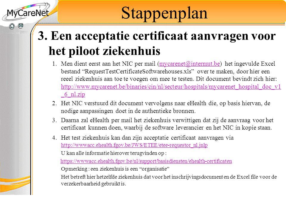 Stappenplan 3. Een acceptatie certificaat aanvragen voor het piloot ziekenhuis.