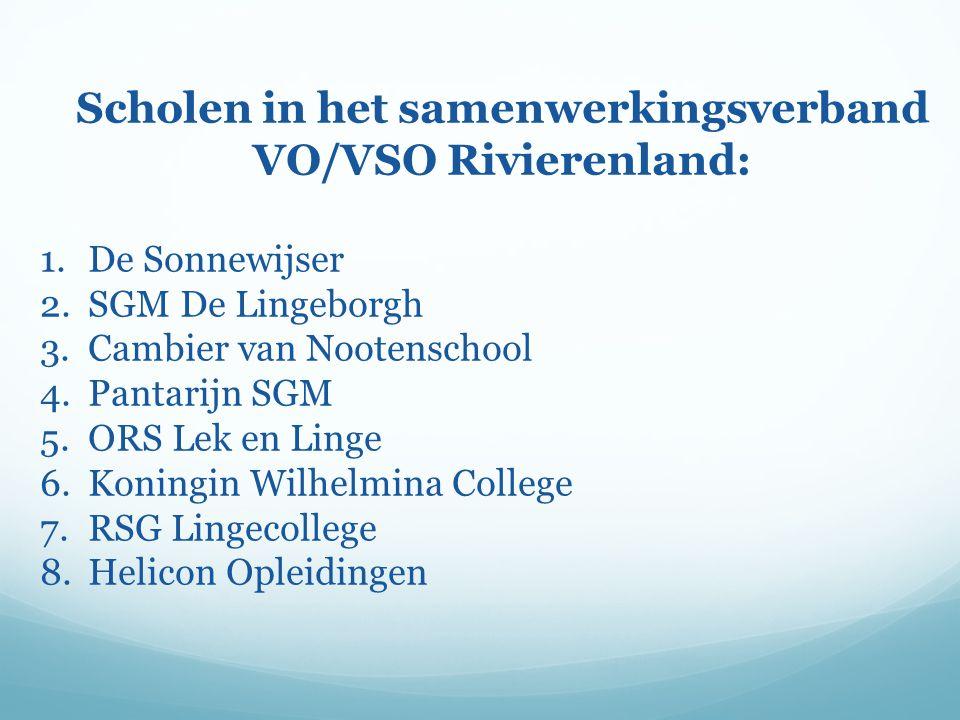 Scholen in het samenwerkingsverband VO/VSO Rivierenland:
