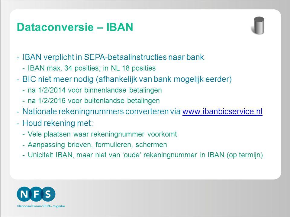 Dataconversie – IBAN IBAN verplicht in SEPA-betaalinstructies naar bank. IBAN max. 34 posities; in NL 18 posities.