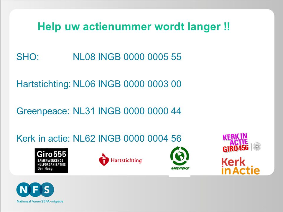 Help uw actienummer wordt langer !!