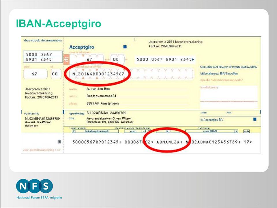 IBAN-Acceptgiro Uitgangspunten:
