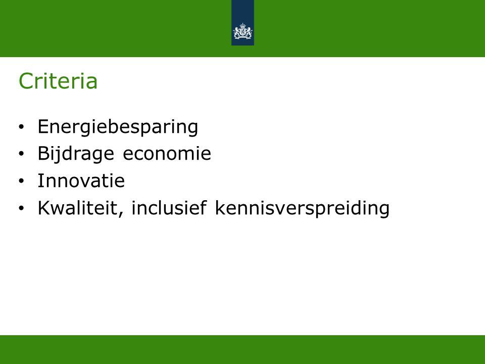 Criteria Energiebesparing Bijdrage economie Innovatie