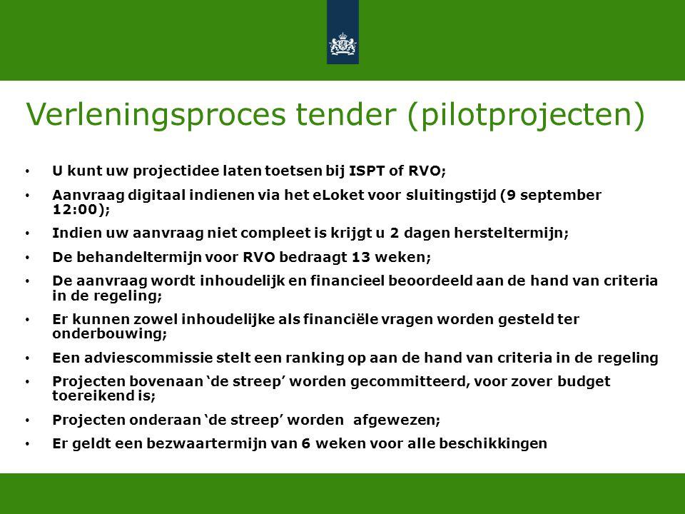 Verleningsproces tender (pilotprojecten)