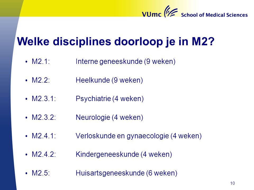 Welke disciplines doorloop je in M2