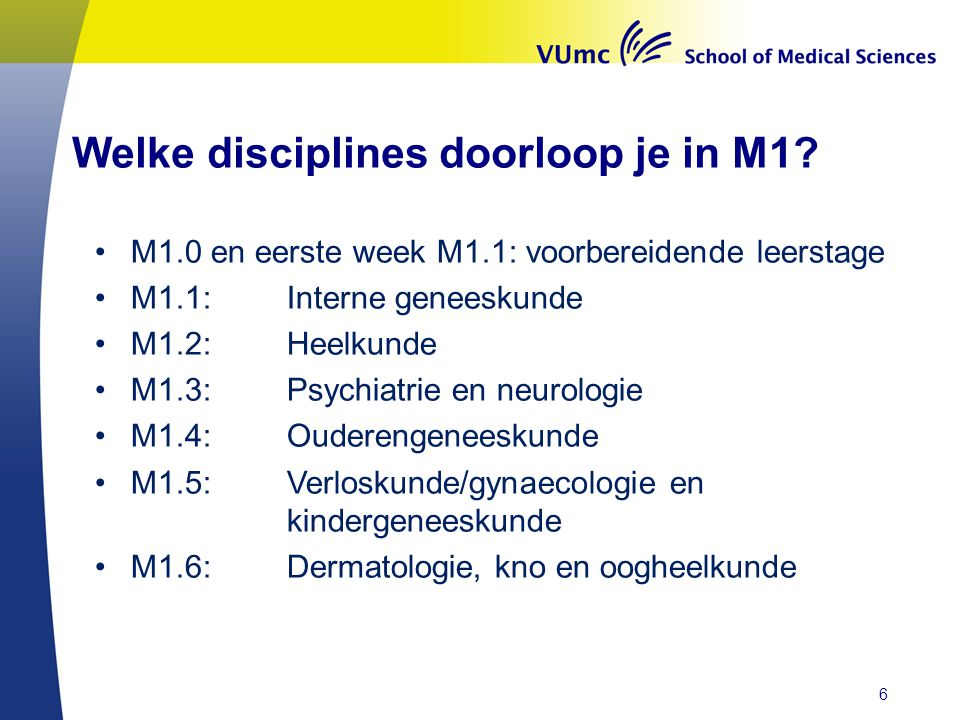 Welke disciplines doorloop je in M1