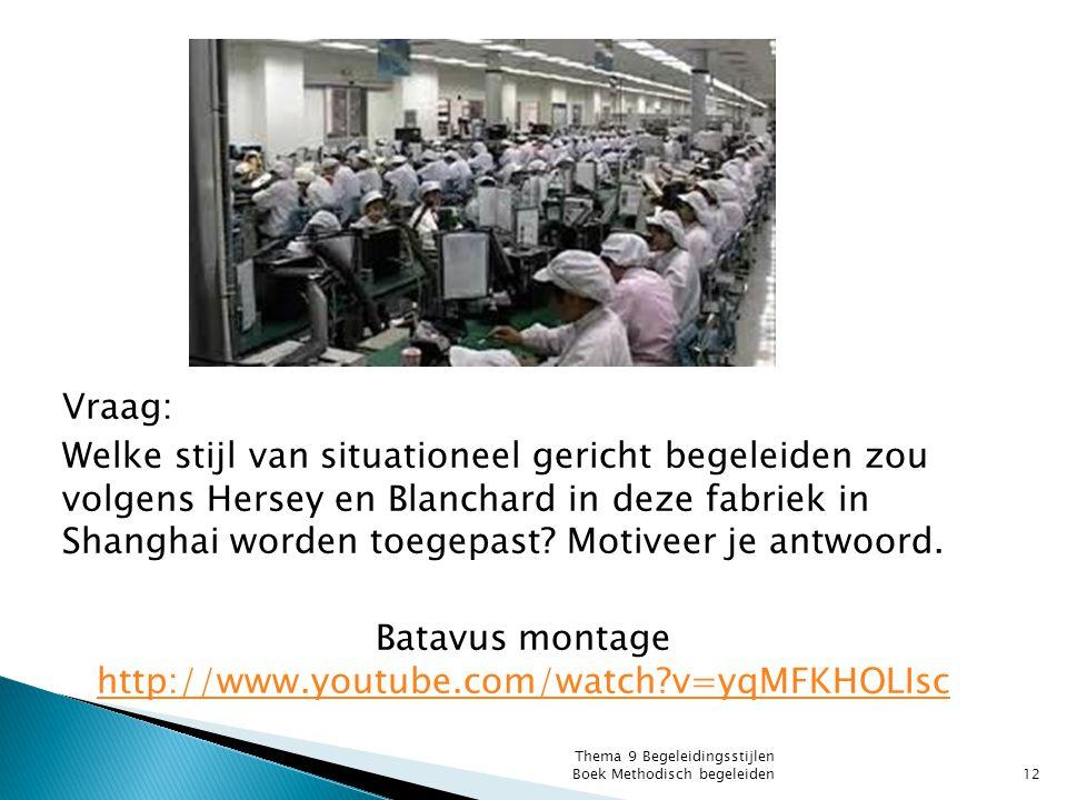 Vraag: Welke stijl van situationeel gericht begeleiden zou volgens Hersey en Blanchard in deze fabriek in Shanghai worden toegepast Motiveer je antwoord. Batavus montage http://www.youtube.com/watch v=yqMFKHOLIsc