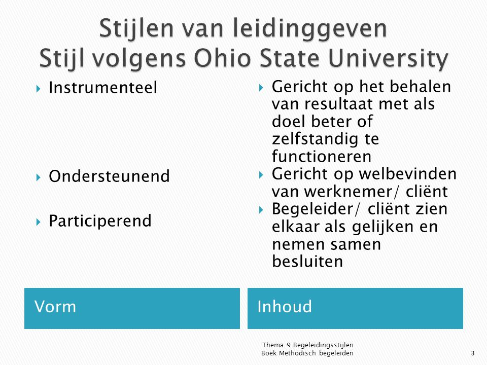 Stijlen van leidinggeven Stijl volgens Ohio State University
