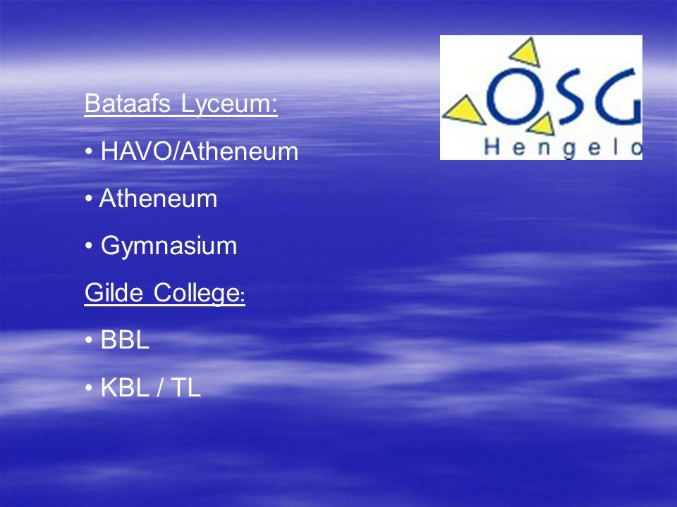 Bataafs Lyceum: HAVO/Atheneum Atheneum Gymnasium Gilde College: BBL KBL / TL