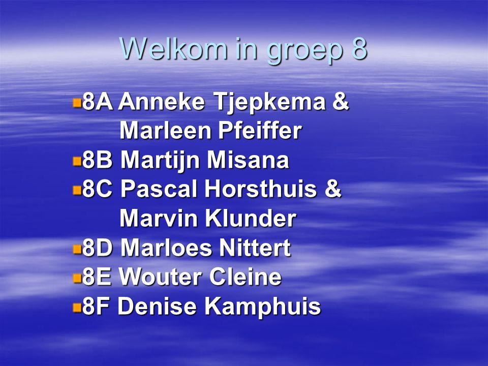 Welkom in groep 8 8A Anneke Tjepkema & Marleen Pfeiffer