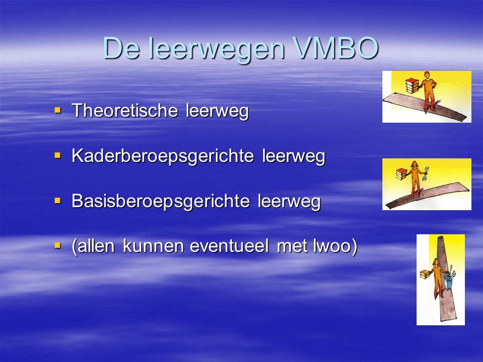 De leerwegen VMBO Theoretische leerweg Kaderberoepsgerichte leerweg