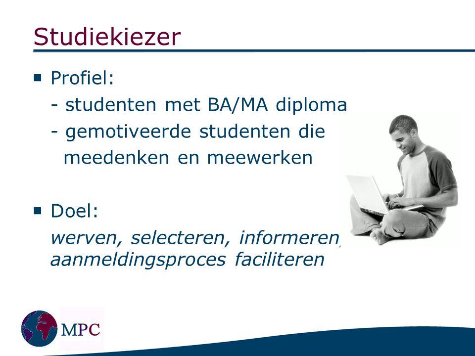 Alumni Profiel: oud-studenten MPC (die eventueel een bijdrage willen leveren aan het optimaliseren van de richting MPC)
