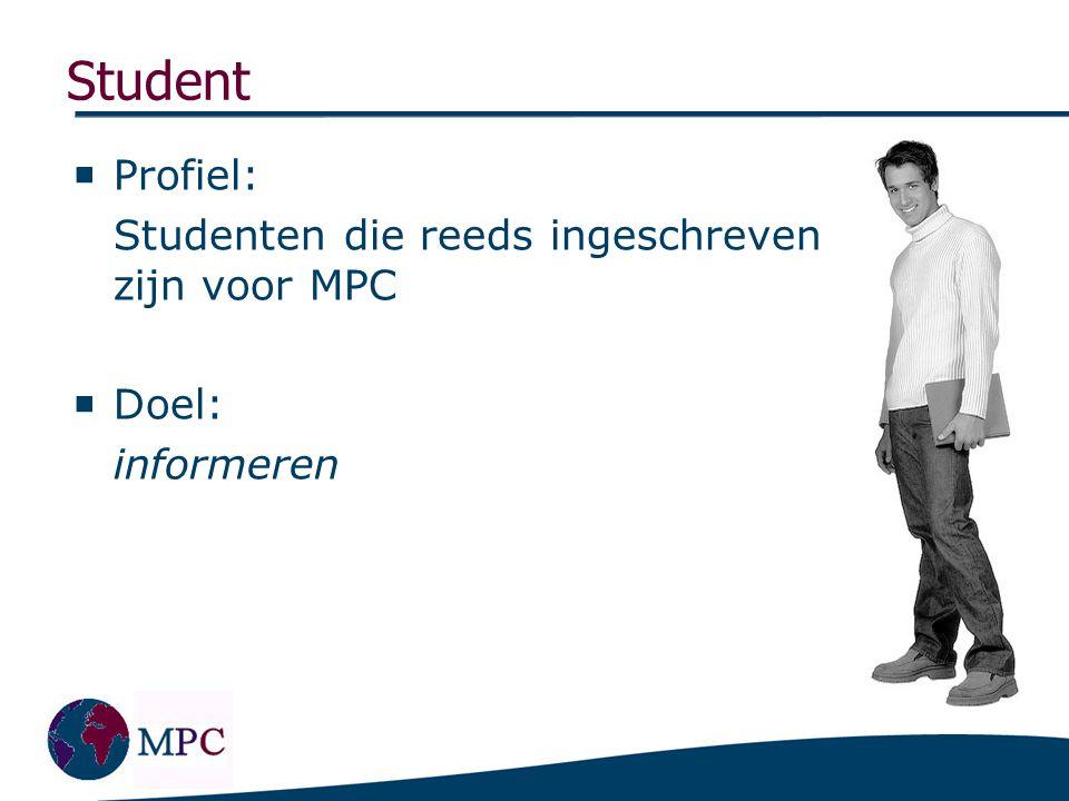Medewerker Profiel: Alle medewerkers van de master MPC Doel: