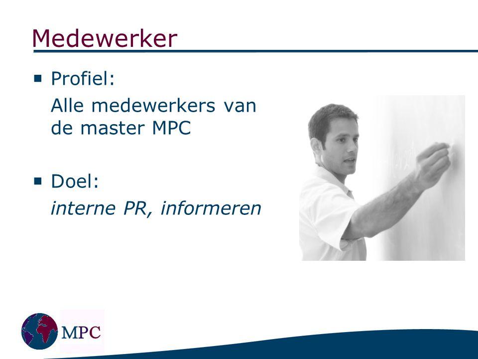 Bedrijven Profiel: Bedrijven die geïnteresseerd zijn in het aanwerven van studenten die de richting MPC gevolgd hebben.