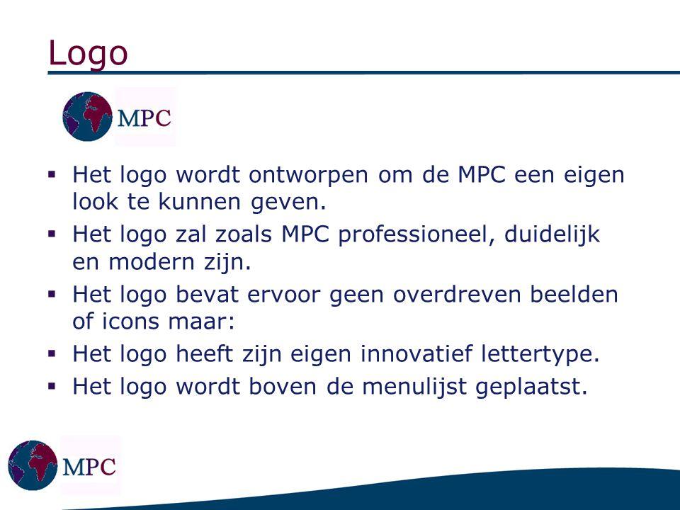 Design Indeling van de pagina: Logo bovenaan de menulijst links