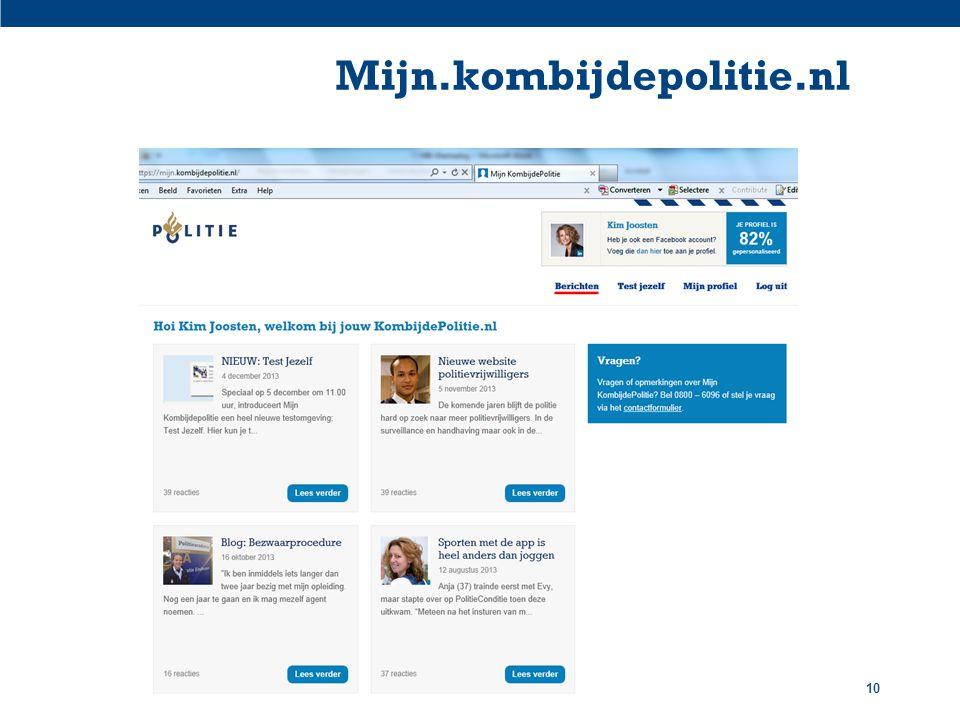 Mijn.kombijdepolitie.nl Titel presentatie / Organisatieonderdeel
