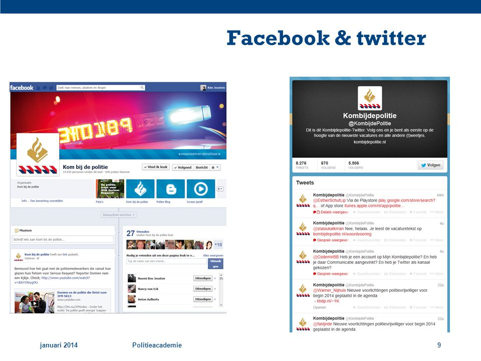 Facebook & twitter januari 2014 Politieacademie