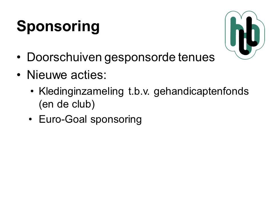 Sponsoring Doorschuiven gesponsorde tenues Nieuwe acties: