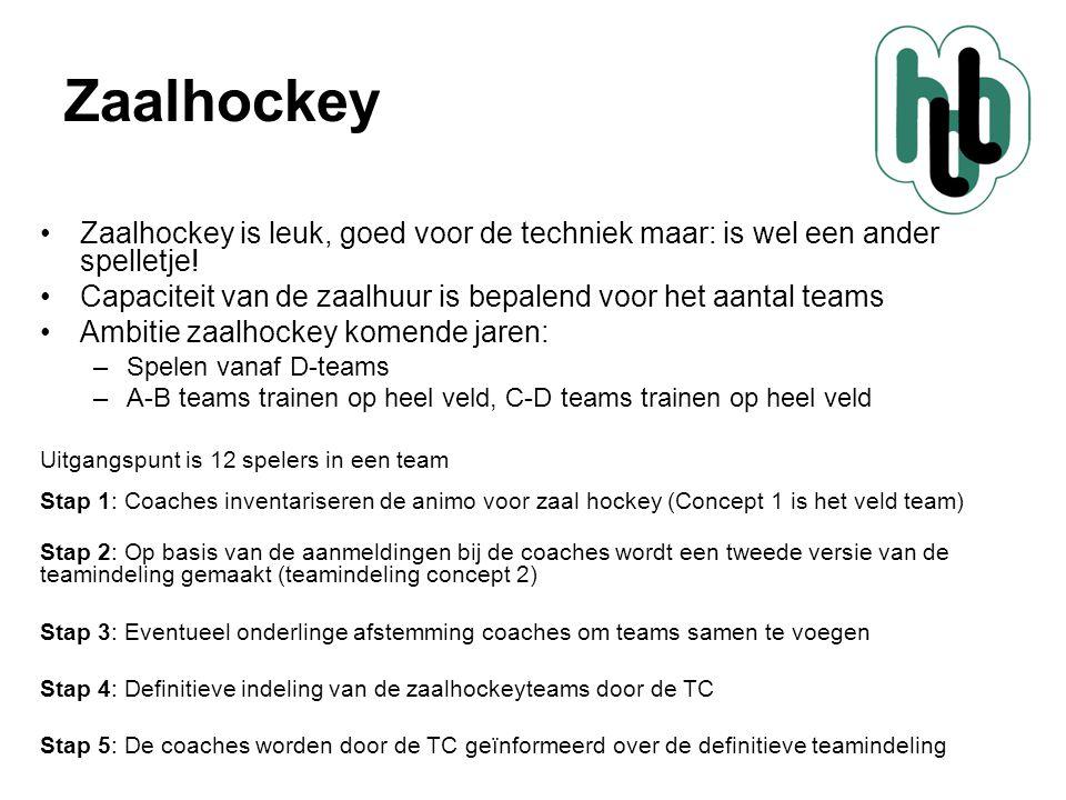 Zaalhockey Zaalhockey is leuk, goed voor de techniek maar: is wel een ander spelletje! Capaciteit van de zaalhuur is bepalend voor het aantal teams.