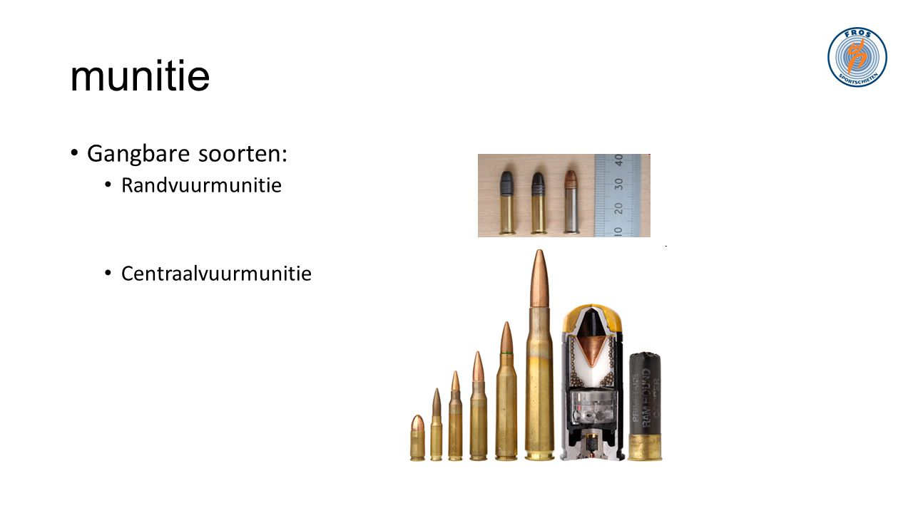 munitie Gangbare soorten: Randvuurmunitie Centraalvuurmunitie