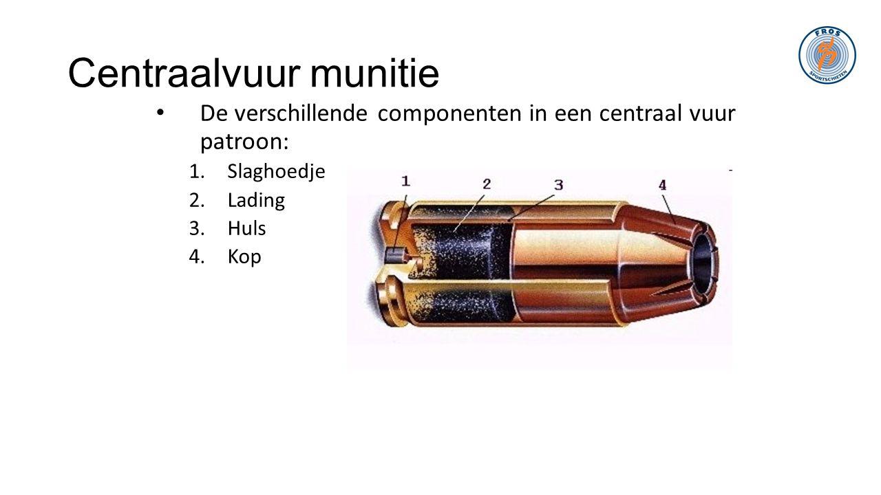 Centraalvuur munitie De verschillende componenten in een centraal vuur patroon: Slaghoedje. Lading.