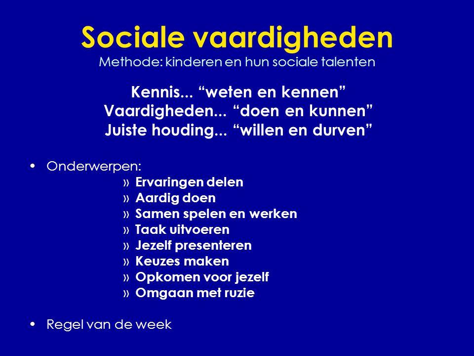 Sociale vaardigheden Methode: kinderen en hun sociale talenten