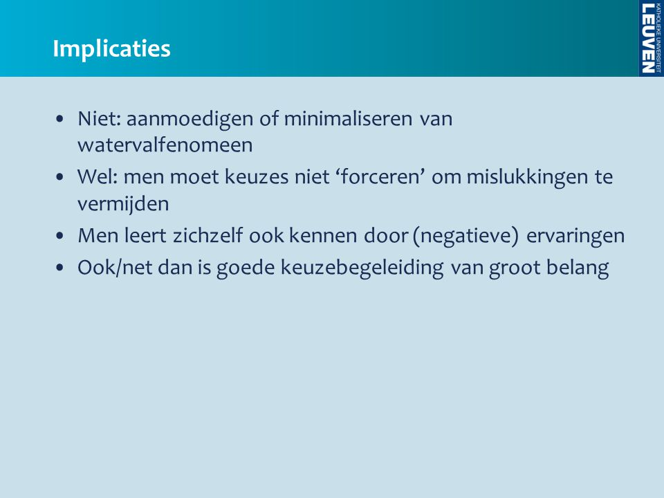 Implicaties Niet: aanmoedigen of minimaliseren van watervalfenomeen