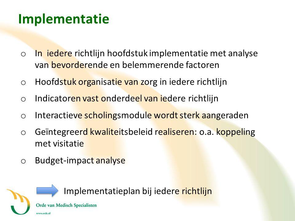 Implementatie In iedere richtlijn hoofdstuk implementatie met analyse van bevorderende en belemmerende factoren.