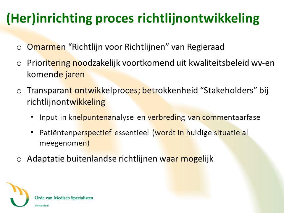 (Her)inrichting proces richtlijnontwikkeling