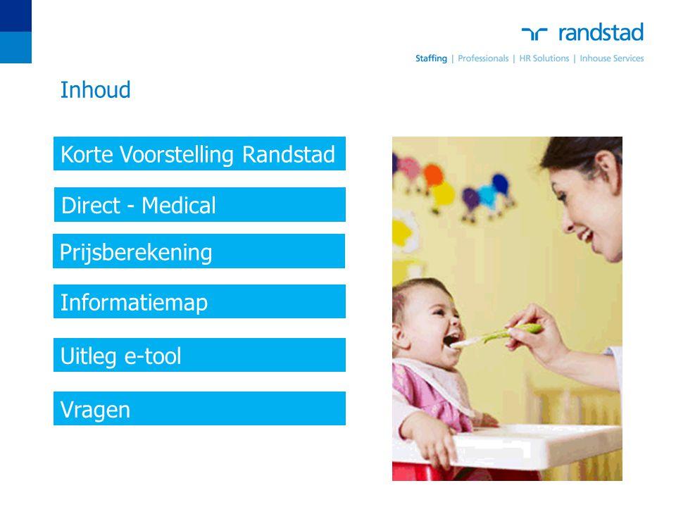 Inhoud Korte Voorstelling Randstad. Direct - Medical. Prijsberekening. Informatiemap. Uitleg e-tool.