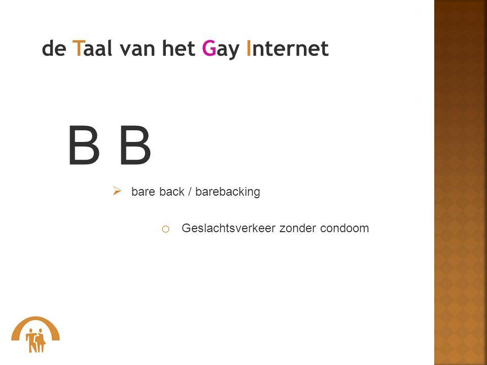 B B de Taal van het Gay Internet Geslachtsverkeer zonder condoom