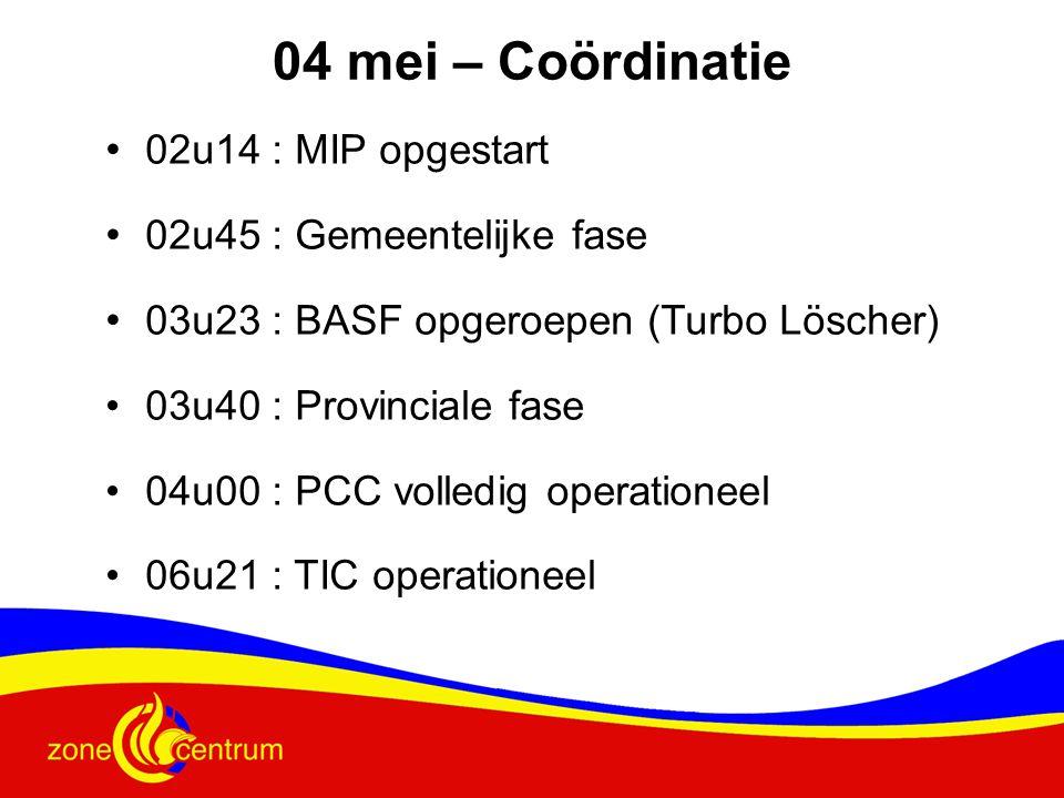 04 mei – Coördinatie 02u14 : MIP opgestart 02u45 : Gemeentelijke fase
