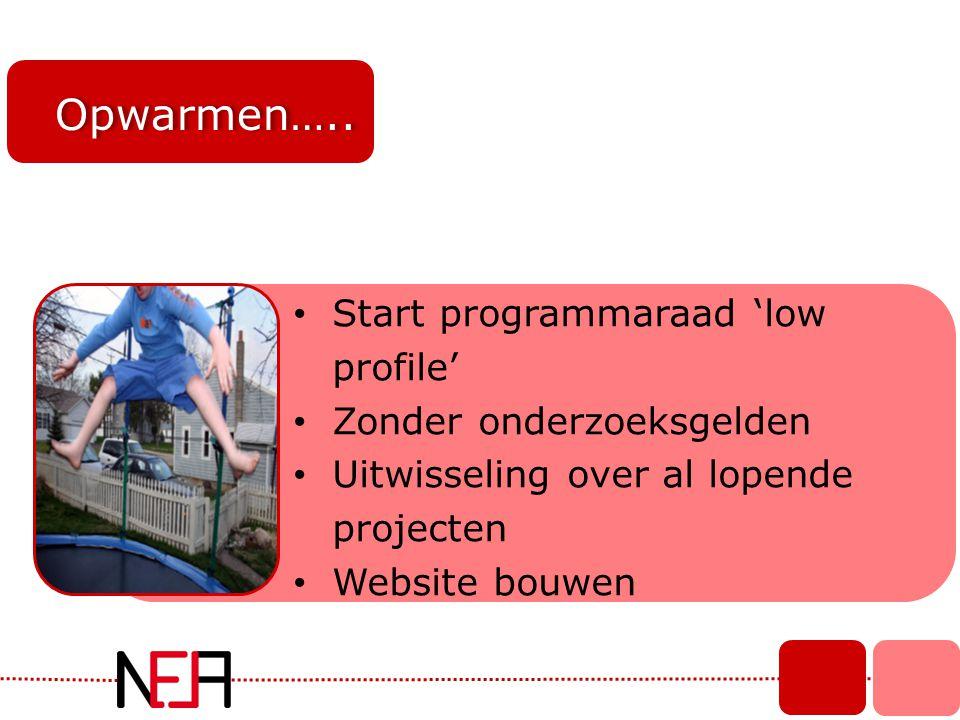 Opwarmen….. Start programmaraad 'low profile' Zonder onderzoeksgelden