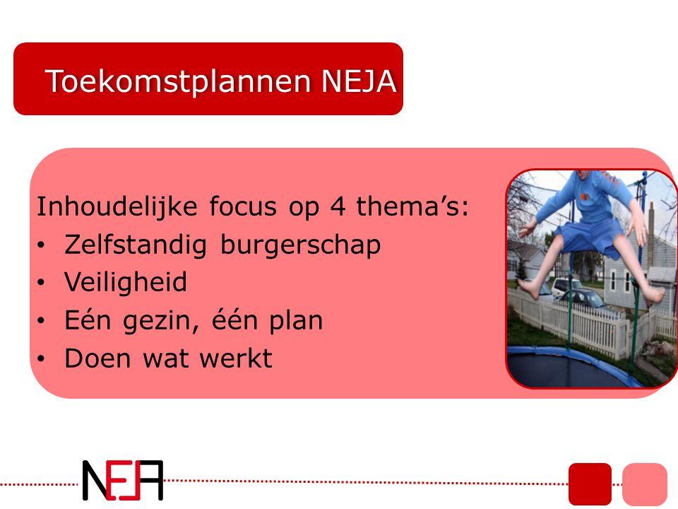 Toekomstplannen NEJA Inhoudelijke focus op 4 thema's: